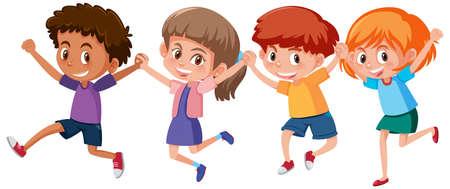 Set of different kids holding hands illustration Vetores
