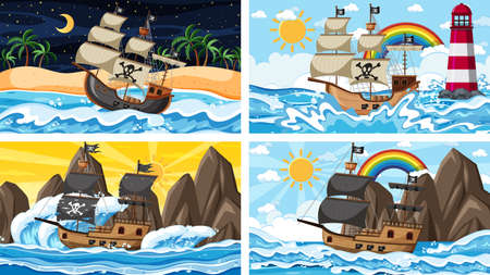 Set of Ocean with Pirate ship at different times scenes in cartoon style illustration Vektorgrafik