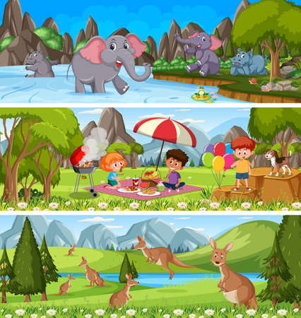 Outdoor panorama landscape scene set with cartoon character illustration