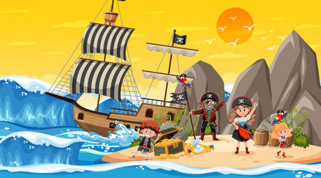 Treasure Island scene at sunset time with Pirate kids illustration