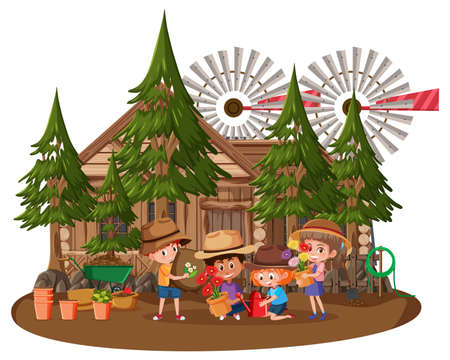 Wooden house with many children on white background illustration