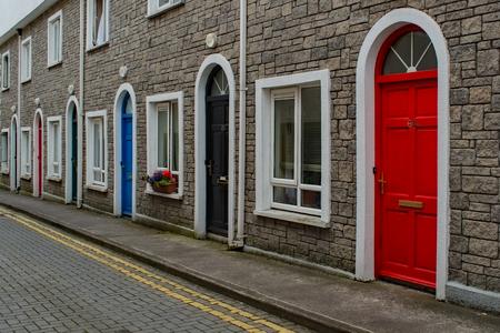 Rowhouse Doors in Ireland Archivio Fotografico