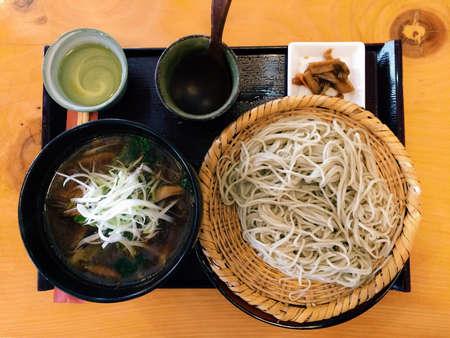 일본의 전통 메밀 국수 식사 스톡 콘텐츠