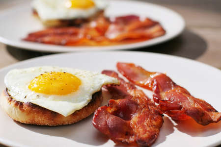 bacon and eggs: Fresh Cooked Bacon and Egg on English Muffin