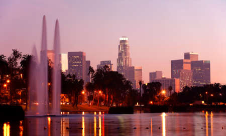 echo: Downtown Los Angeles from Echo Park Stock Photo