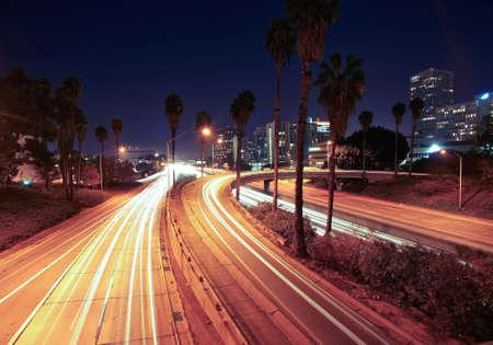 night traffic: Night Traffic Long Exposure Stock Photo