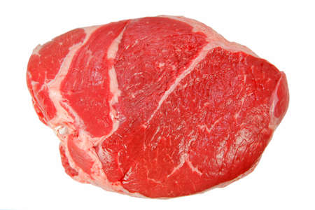 butchered: Raw Meat Isolated on White