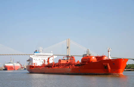 tanker ship: Tanker Ship on a River