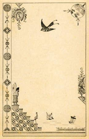 elaborate: Vintage Postcard with Elaborate Border Illustration