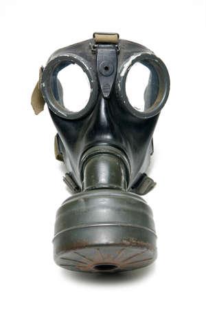 mascara de gas: WW2 Cartel de la careta antigás aislada en blanco Foto de archivo
