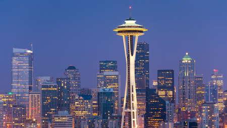 Skyline met Space Needle in Seattle