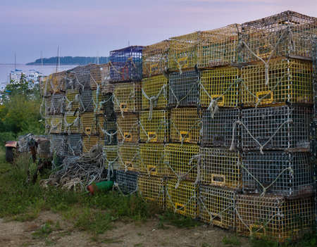 lobster pot: Stack of Lobster Pots Stock Photo