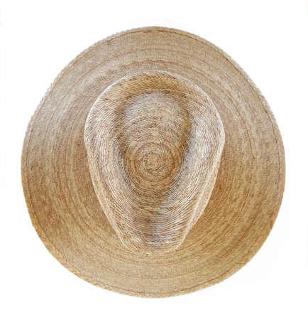 chapeau de paille: Paille Chapeau de cowboy isolé Banque d'images