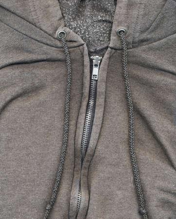 sweatshirt: Detalle Sudadera Cremallera Foto de archivo