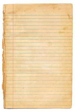 Vintage Papel alineado del cuaderno
