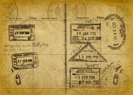 passeport: Passeport Vintage Stamp Contexte Banque d'images