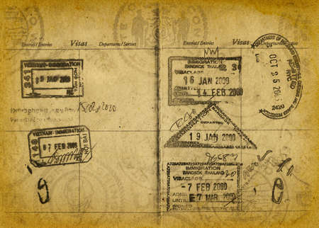 stamp passport: Vintage Passport Stamp Background