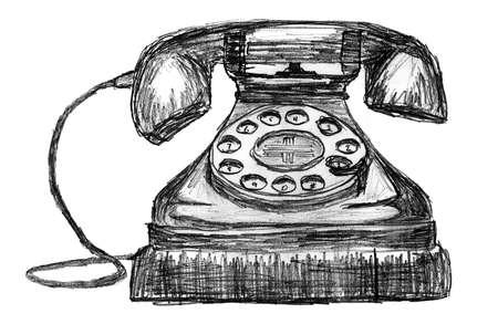 vintage telephone: Vintage Style Telephone Sketch Stock Photo