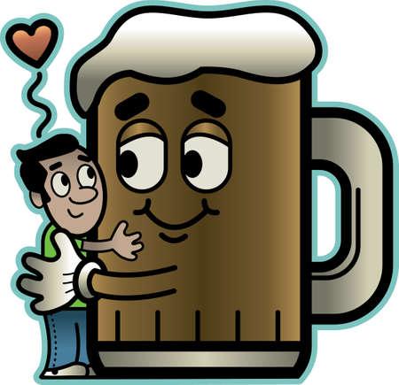 one of a kind: Man Hugging Beer