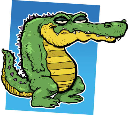 illustration of a smirking cartoon alligator. Vector
