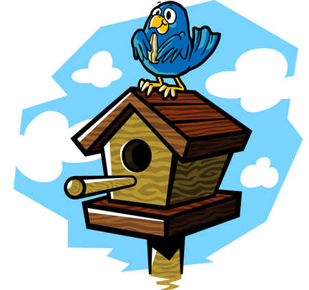 illustration of a cute bluebird eating a seed while sitting on a   wooden birdhouse.