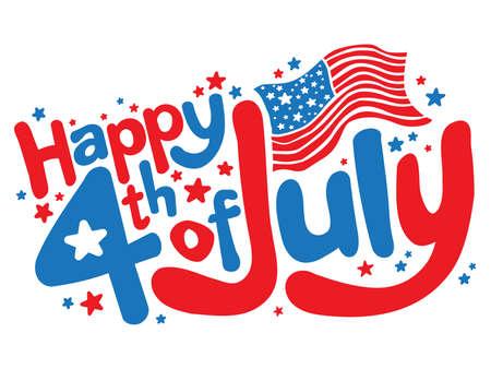 julio: Feliz el 4 de julio divertido texto gráfico vectorial Vectores