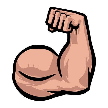 in flexed: Biceps Flex Arm Vector Icon