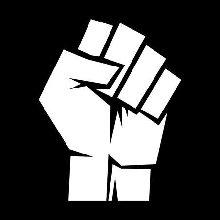 clenched: Raised fist vector icon