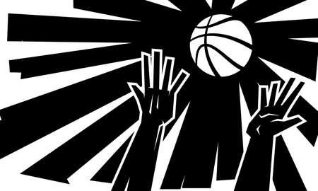 hands reaching: Hands reaching for basketball vector illustration Illustration