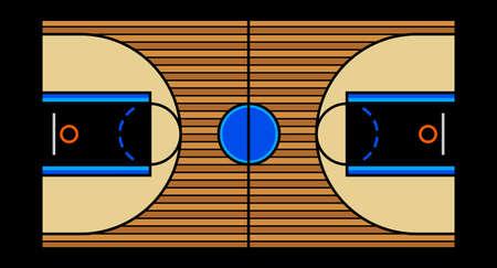 Vector illustration of a hardwood basketball court