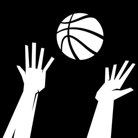 Hands reaching for basketball vector illustration Stock Vector - 49535381