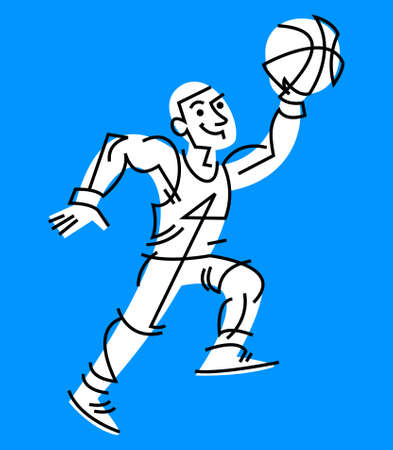 dunking: Vector cartoon line art basketball player dunk Illustration