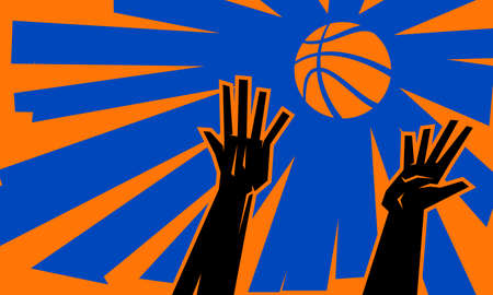 Hands reaching for basketball vector illustration Illustration