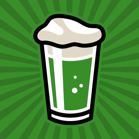 pint: Green Beer Pint Glass Vector Icon