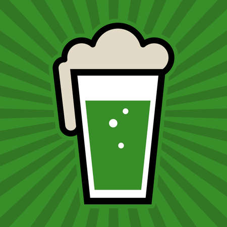 beer pint: Green Beer Pint Glass Vector Icon
