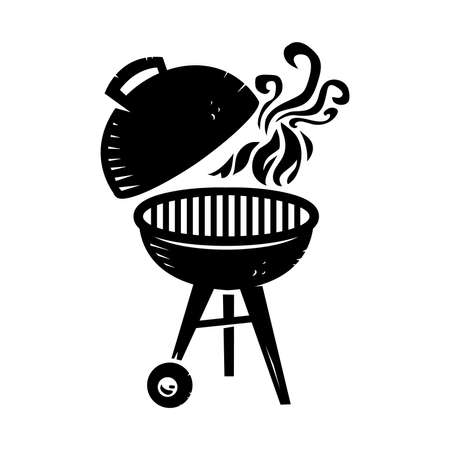 flames background: BBQ vector icon
