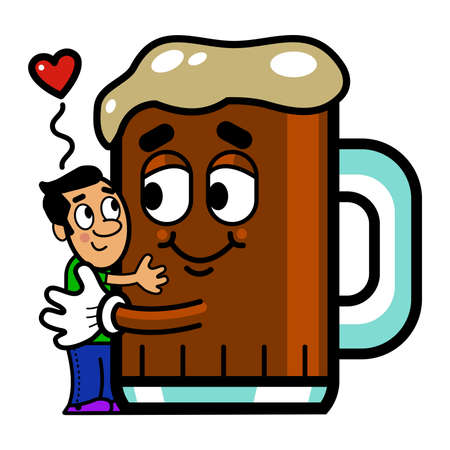 drunk party: Vector illustration of a cartoon man hugging a cartoon beer.