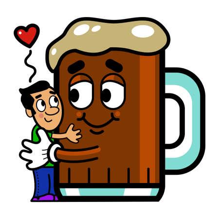 hombre caricatura: Vector ilustraci�n de un hombre de dibujos animados que abraza una cerveza de la historieta.