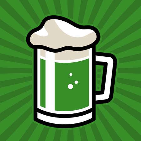 beer stein: Green Beer Stein Vector Icon
