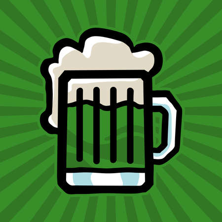 beer stein: Green Beer Stein Vector Icon