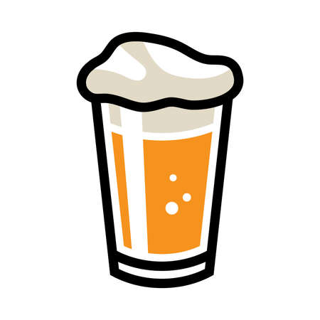 beer pint: Beer Pint Glass Vector Icon