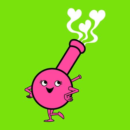 water weed: Vector illustration of a cute cartoon bong. Illustration