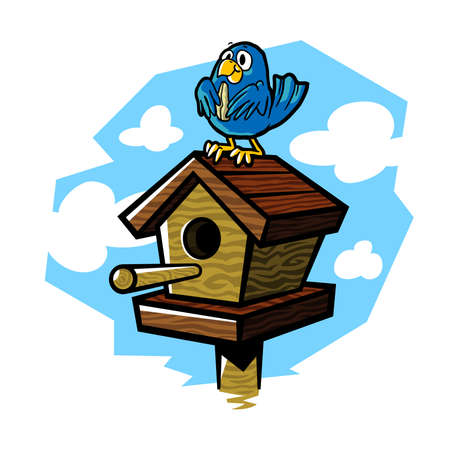 bluejay: Vector illustration of a cute bluebird eating a seed while sitting on a wooden birdhouse. Illustration