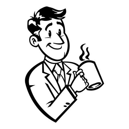 sales meeting: Business man in suit and tie drinking coffee vector illustration