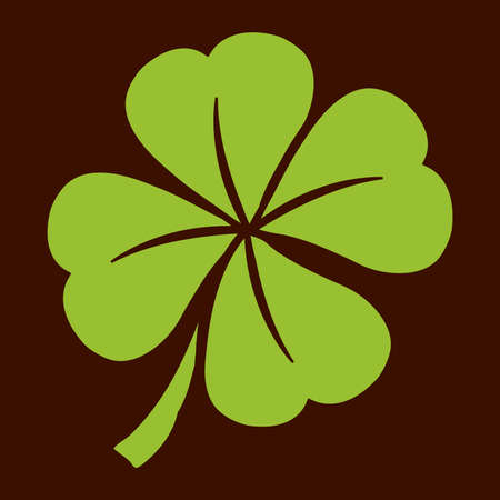 four objects: Lucky Irish clover leaf