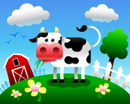 black and white farm animals: Cow