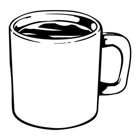 Coffee mug vector icon Çizim