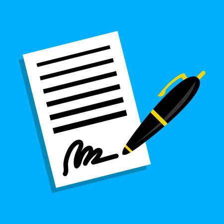 Papieren contract Pen Handtekening Vector Icon
