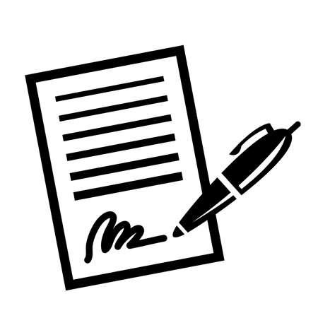 pen and paper: Paper Contract Pen Signature Vector Icon