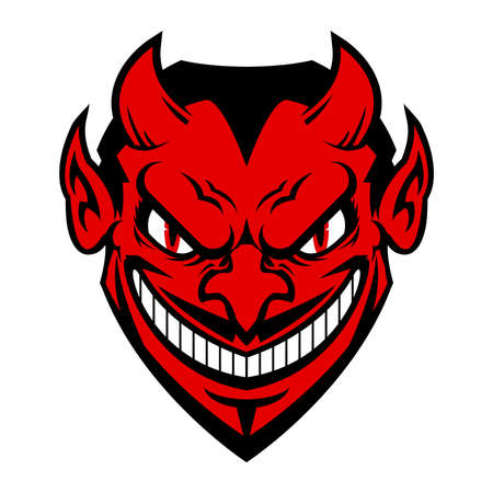 Devil cartoon head vector icon Çizim